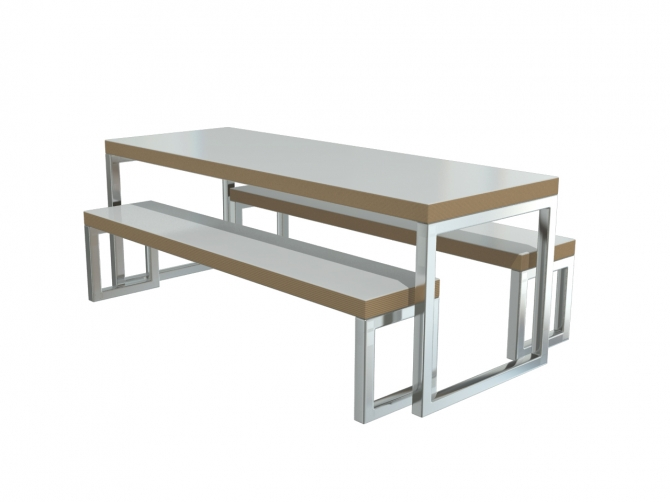 Dadford Table And Fixed Seating Bench Set